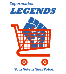 Supermarket Legends logo red grocery cart with blue upraised fist