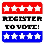 Register to vote red white and blue poster